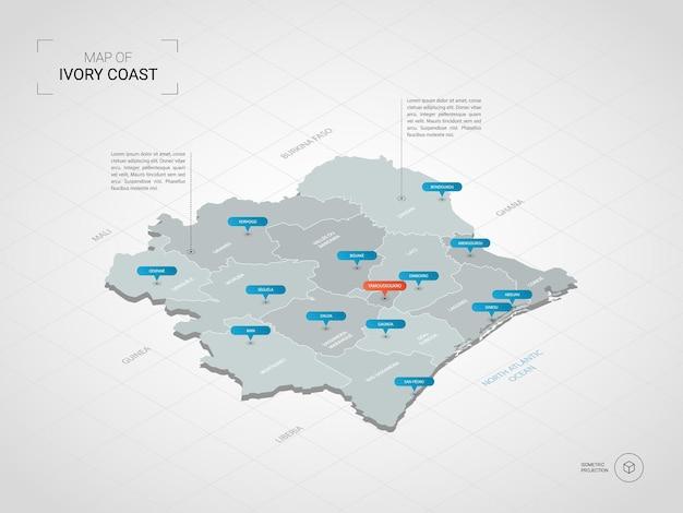Izometryczna mapa wybrzeża kości słoniowej. stylizowana ilustracja mapy z miastami, granicami, stolicą, podziałami administracyjnymi i znakami wskaźnika; gradientowe tło z siatką.