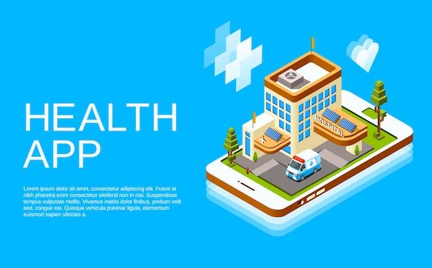 Izometryczna medycyna internetowa, plakat aplikacji zdrowia telemedycyny
