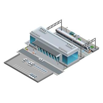 Izometryczna miniatura dworca kolejowego