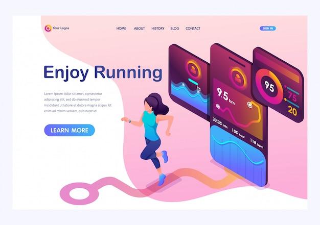 Izometryczna młoda dziewczyna jogging, uruchomiona aplikacja mobilna śledzi trening, sygnał gps.