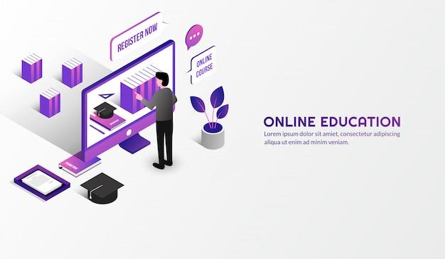 Izometryczna nowoczesna koncepcja edukacji online, ucz się z domu poprzez kurs e-learningowy