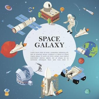 Izometryczna okrągła kompozycja kosmiczna z satelitą planetarium kosmiczna baza planeta ziemia astronauci łazik księżycowy prom rakietowy start kosmiczny ufo