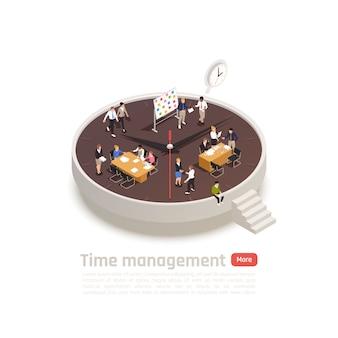 Izometryczna okrągła koncepcja zarządzania czasem do projektowania stron internetowych z pracownikami we wnętrzu biura współpracującymi ze sobą
