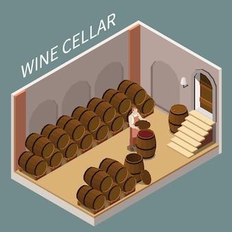 Izometryczna piwnica na wino z dużą ilością ilustracji beczek