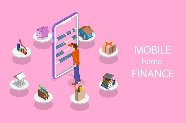 Izometryczna płaska koncepcja finansów osobistych, planowania budżetu, zakupów online, bankowości i płatności rachunków.