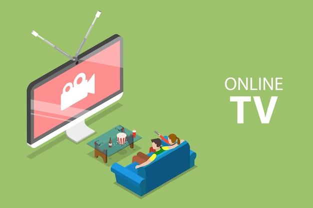 Izometryczna płaska koncepcja smart tv, rozrywki domowej, filmu online, przesyłania strumieniowego.