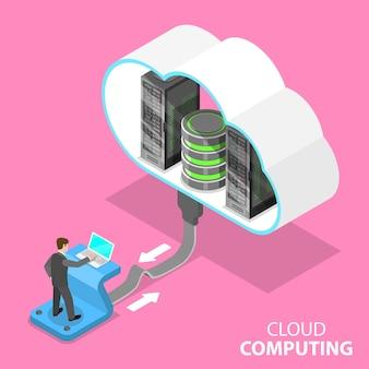 Izometryczna płaska koncepcja technologii przetwarzania w chmurze, przechowywania danych i hostiung, dużych zbiorów danych.