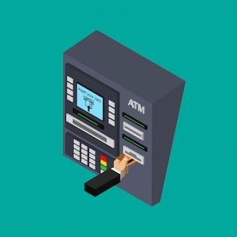 Izometryczna płaska konstrukcja bankomatu z ręką. wkładanie karty kredytowej do bankomatu. korzystanie z automatu. ilustracja.