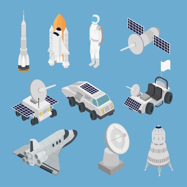 Izometryczna przestrzeń dziesięć zestaw ikon