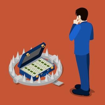 Izometryczna pułapka na bank. kredyt bankowy. biznesmen myśli o kredycie.