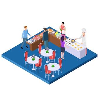 Izometryczna restauracja śniadaniowa w formie bufetu