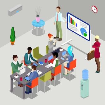 Izometryczna sala konferencyjna prezentacja biznesowa z ludźmi.