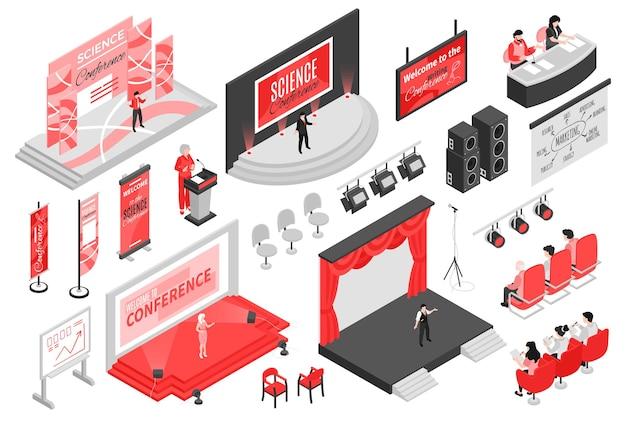 Izometryczna sala konferencyjna zestaw ilustracji