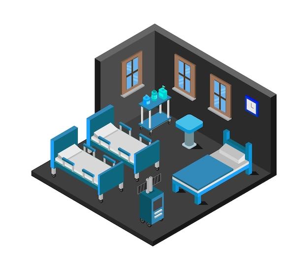 Izometryczna sala szpitalna covid
