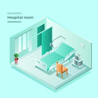 Izometryczna sala szpitalna z łóżkiem i krzesłem odwiedzającym