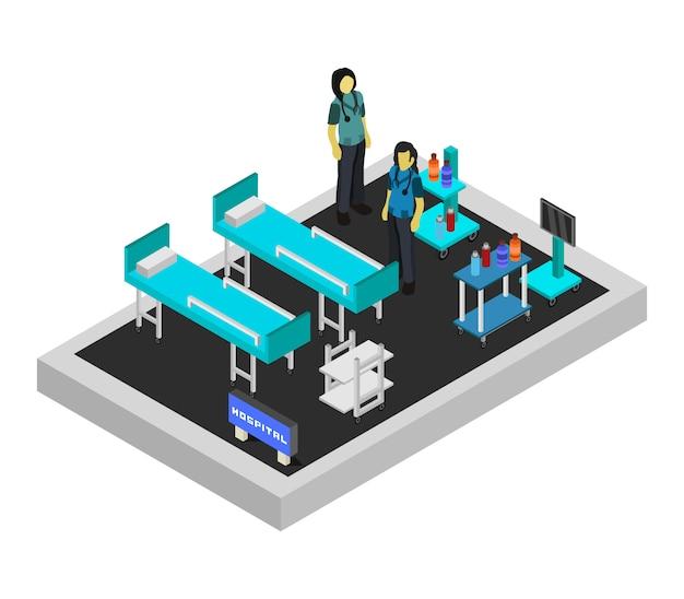 Izometryczna sala szpitalna