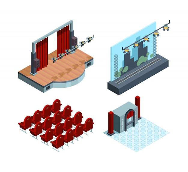 Izometryczna scena teatralna. opera sala baletowa wnętrze czerwona zasłona aktorów kolekcja siedzeń teatralnych