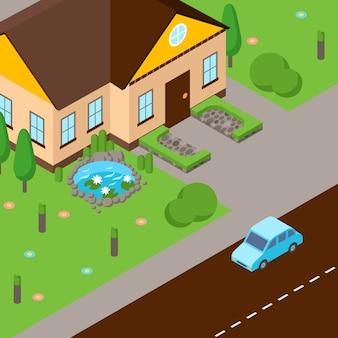 Izometryczna scena uliczna dom z zielonym trawnikiem, ulicą i samochodem na drodze