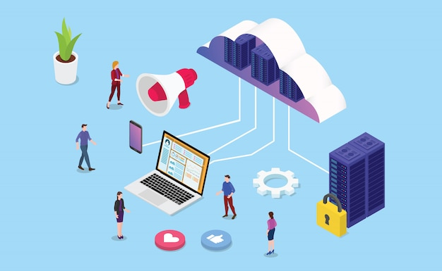 Izometryczna sieć internetowa lub hosting usług biznesowych