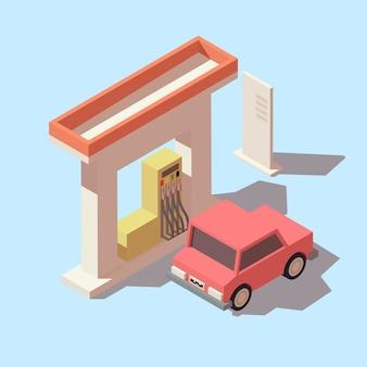 Izometryczna stacja benzynowa i samochód
