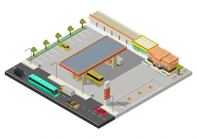 Izometryczna stacja benzynowa, stacja paliw zbiornik paliwa, pompa paliwa, samochód, sklep, stacja paliw, benzyna. ilustracja.