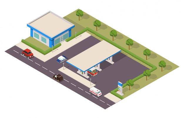 Izometryczna stacja benzynowa z samochodami