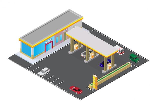 Izometryczna stacja benzynowa