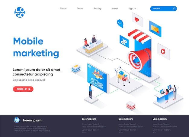 Izometryczna strona docelowa agencji marketingu mobilnego