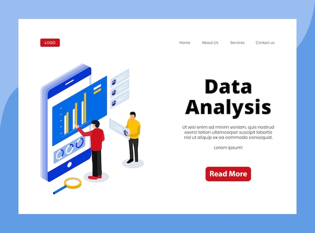 Izometryczna strona docelowa analizy danych