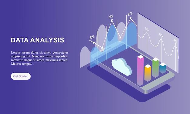 Izometryczna strona docelowa analizy danych.
