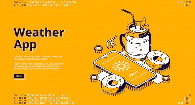 Izometryczna strona docelowa aplikacji pogodowej z urządzeniem mobilnym