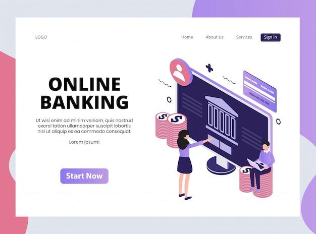 Izometryczna strona docelowa bankowości internetowej