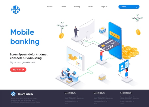Izometryczna strona docelowa bankowości mobilnej