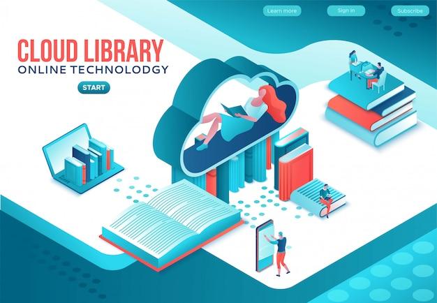 Izometryczna strona docelowa biblioteki online