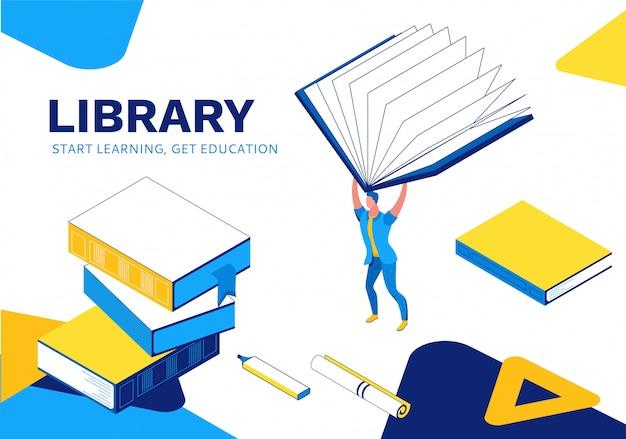Izometryczna strona docelowa biblioteki