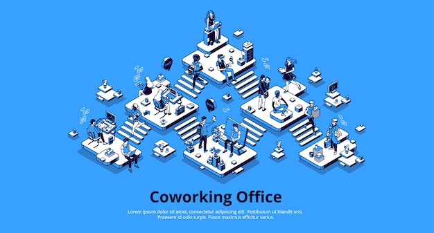 Izometryczna strona docelowa biura coworkingowego. praca zespołowa