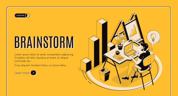 Izometryczna strona docelowa brainstorm, usługa online
