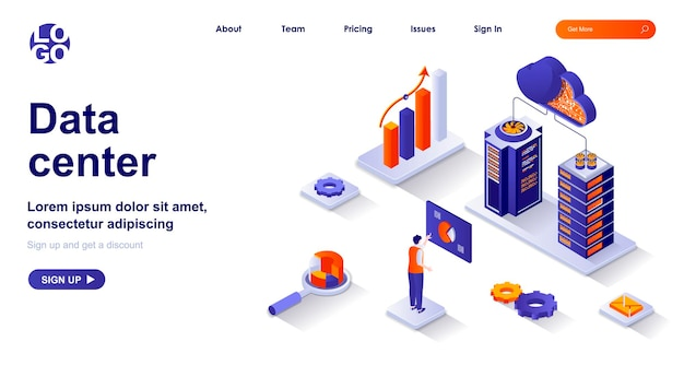 Izometryczna strona docelowa centrum danych 3d z postaciami ludzi