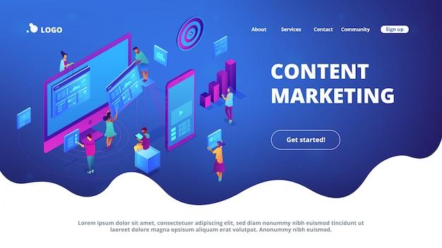 Izometryczna strona docelowa content marketingu.