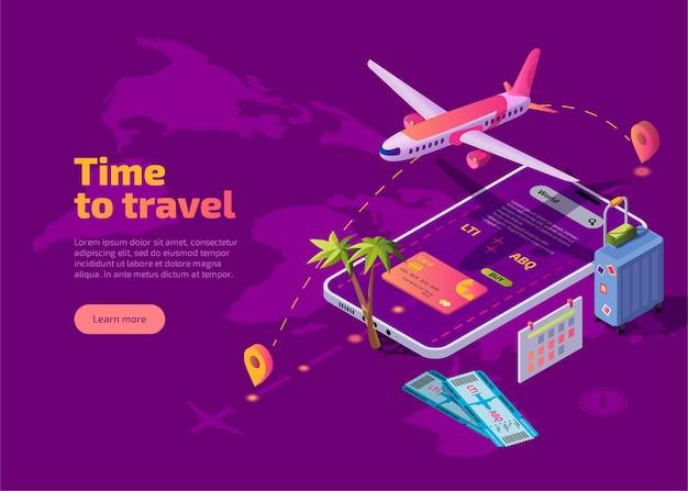 Izometryczna strona docelowa czasu podróży.