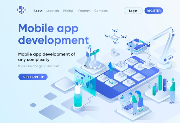 Izometryczna strona docelowa dla aplikacji mobilnych. ui responsywny design, rozwój front-end i back-end. szablon oprogramowania mobilnego do cms i kreatora stron internetowych. scena izometrii z postaciami ludzi.
