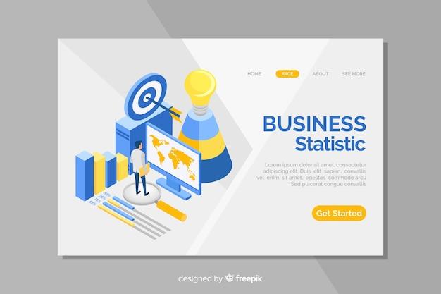 Izometryczna strona docelowa dla statystyki biznesowej