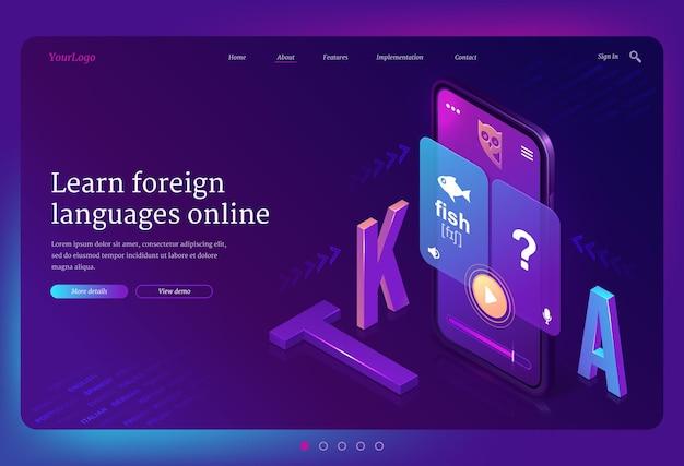 Izometryczna strona docelowa do nauki języków obcych online. telefon komórkowy z wielojęzyczną aplikacją lub serwisem internetowym do celów edukacyjnych