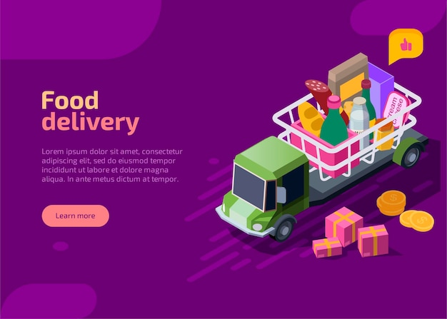 Izometryczna strona docelowa dostawy żywności.