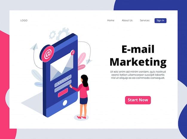 Izometryczna strona docelowa e-mail marketingu