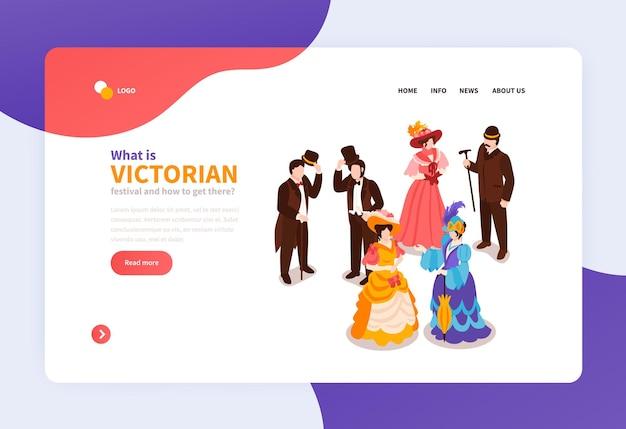 Izometryczna strona docelowa festiwalu wiktoriańskiego z damami i panami ubranymi w stroje z xviii wieku