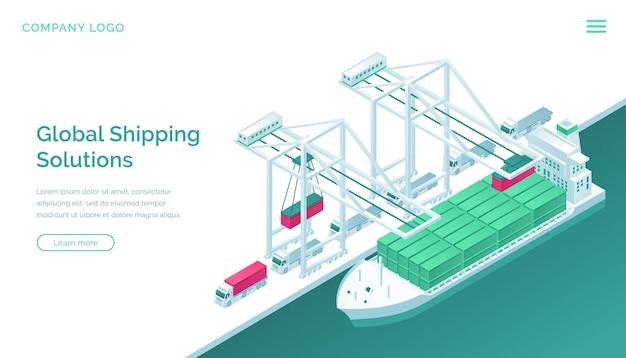 Izometryczna strona docelowa globalnych rozwiązań wysyłkowych.