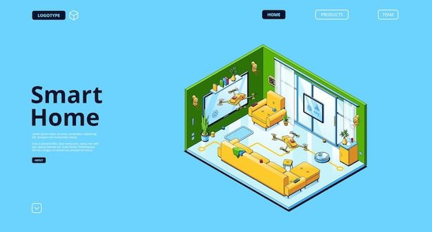 Izometryczna strona docelowa inteligentnego domu