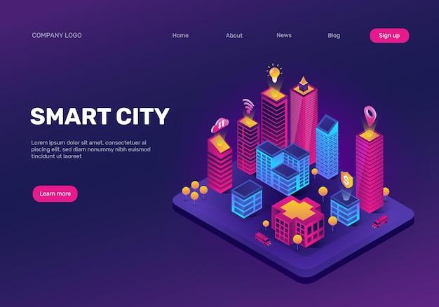 Izometryczna strona docelowa inteligentnego miasta futurystyczny pejzaż z abstrakcyjnym neonowym wektorem budynków przyszłości