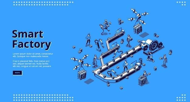 Izometryczna strona docelowa inteligentnej fabryki, przepływ pracy na przenośniku taśmowym.